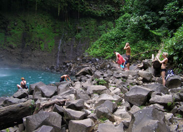 Swimmig at La Fortuna waterfall